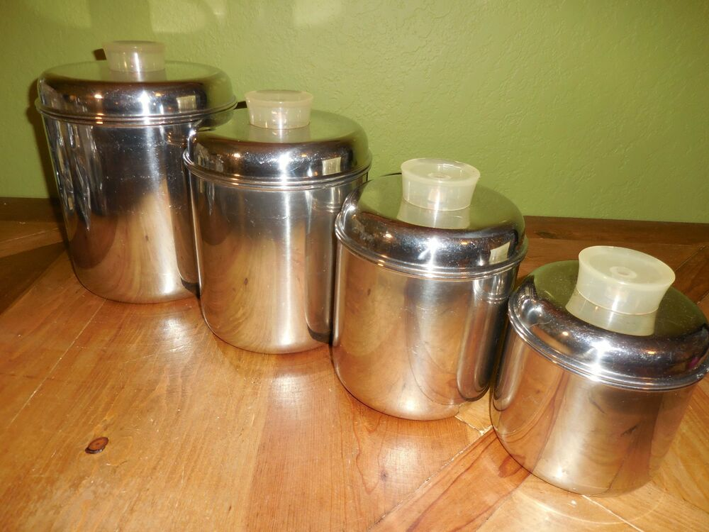 Set of 4 Vintage Revere Ware 1801 Canisters Stainless