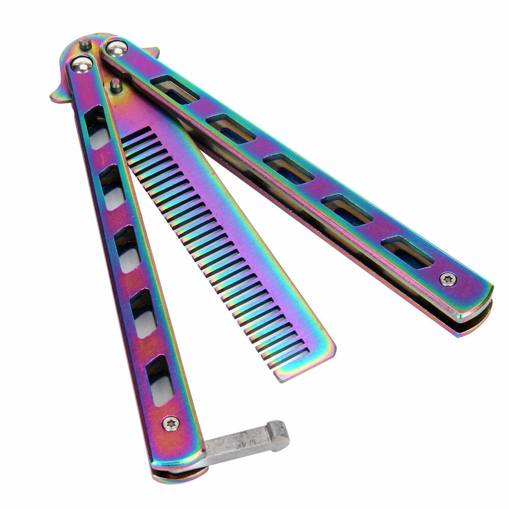 Butterfly hair accessories for weddings uk - 3 Colours New Metal Practice Balisong Butterfly Comb Cool Sports Tool Uk