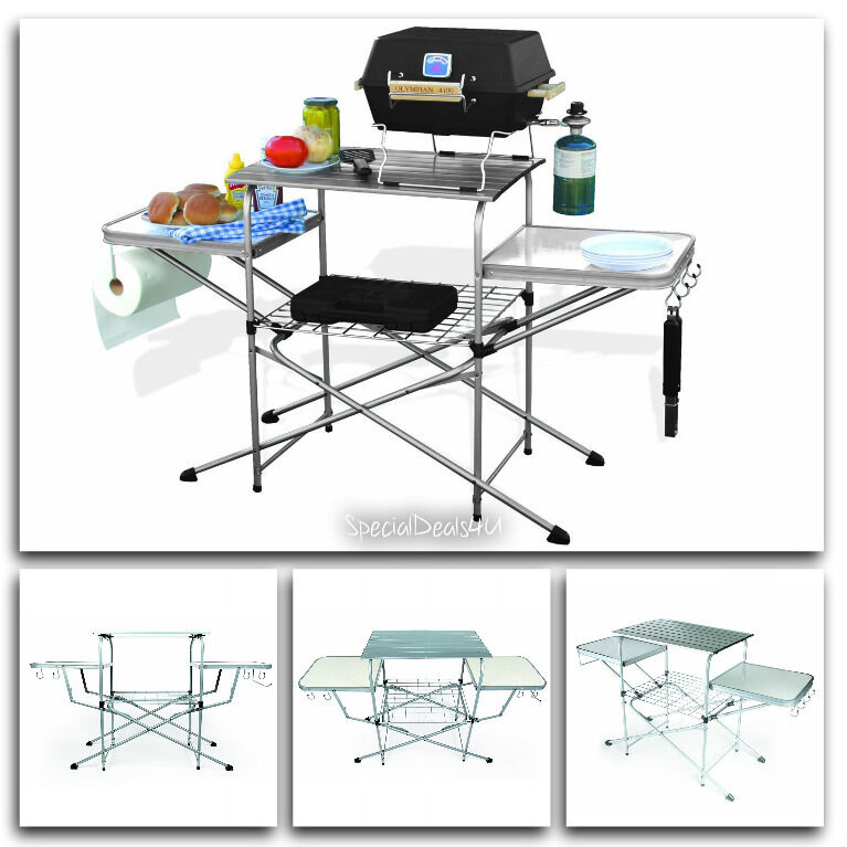 Portable Folding Camp Kitchen Sink Table Outdoor Rv Camping Cooking Food Deluxe Ebay