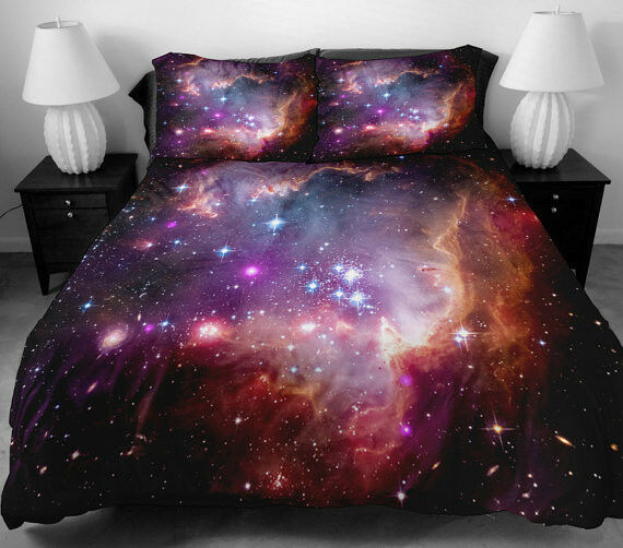 3 pcs red galaxy bedding set outer space quilt cover quilt for Outer space quilt