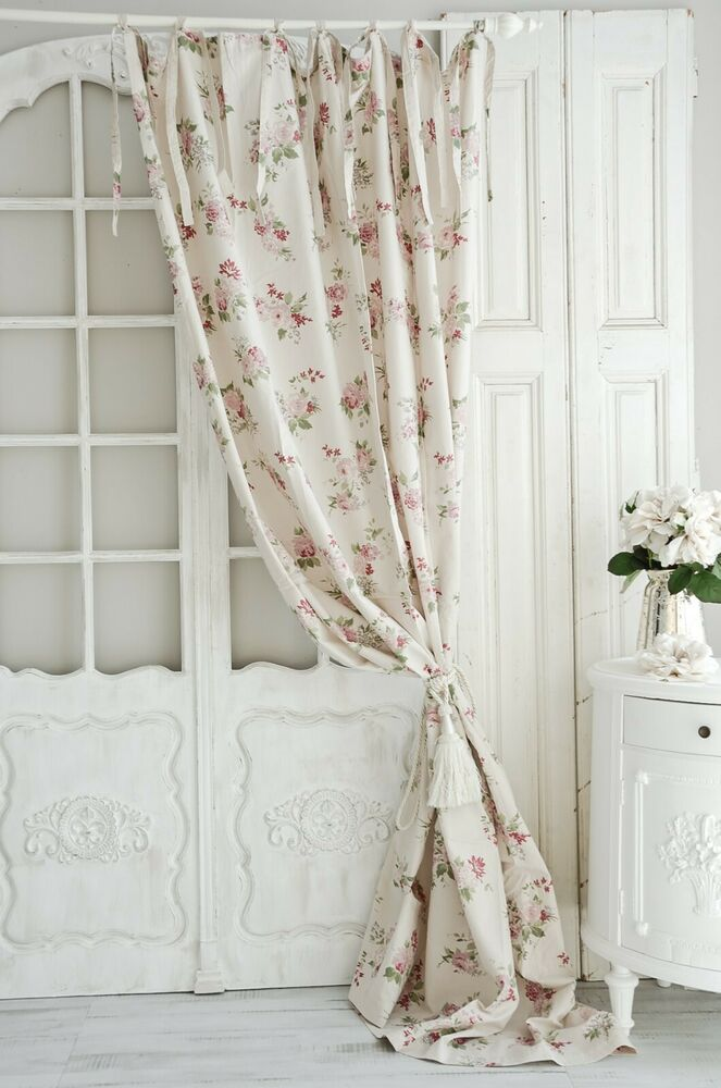 jeanne d arc living jdl gardine 220 rose creme vorhang schal shabby chic vintage ebay. Black Bedroom Furniture Sets. Home Design Ideas