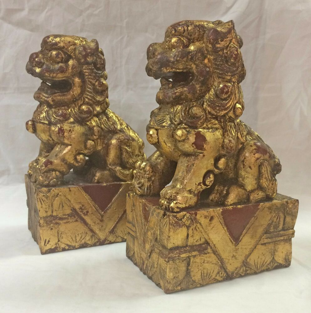 Set of 2 vintage chinese foo dog wood carved guardian fu for Wood in chinese