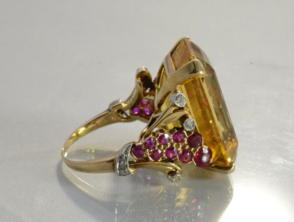 antique citrine 14kt yellow gold ring with rubies and
