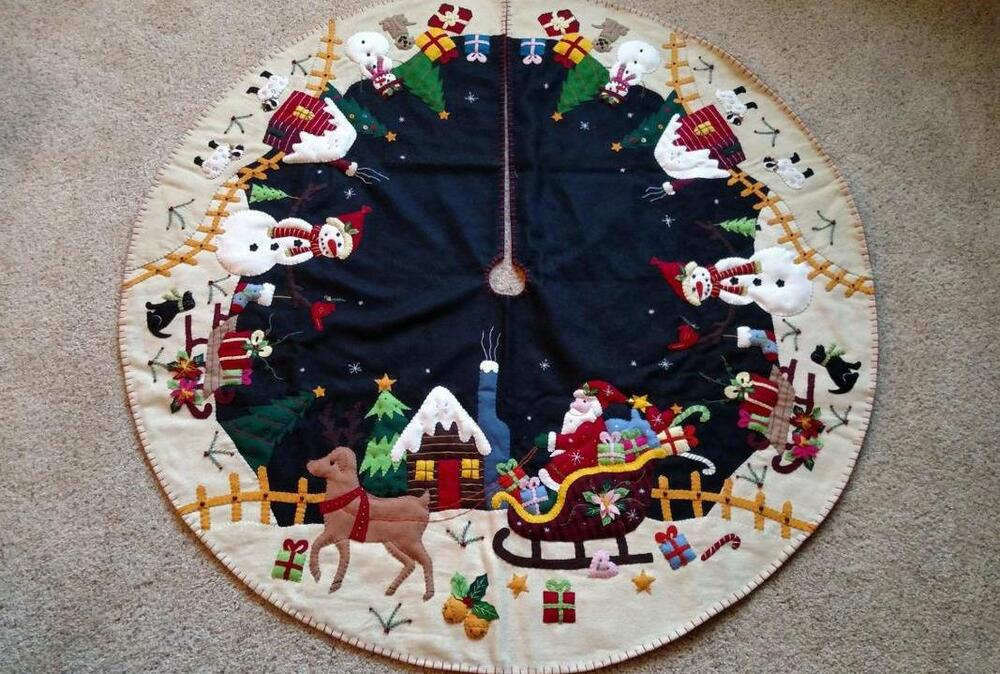 "47"" Hand Made Wool Flannel Santa Reindeer Snowman Village"