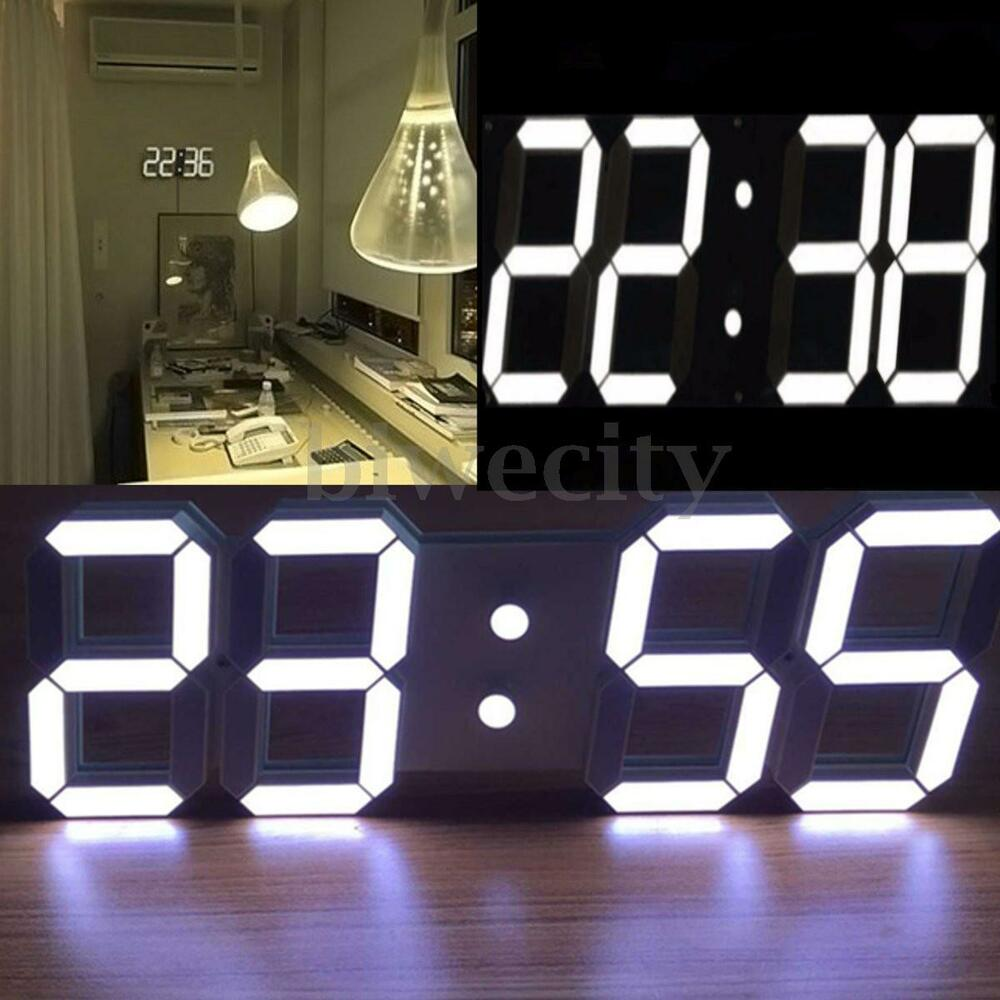 Large 3d digital led wall clock 24 12 hour date display for Afficheur numerique exterieur