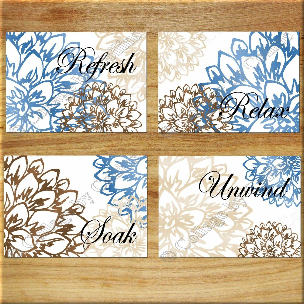 Brown blue tan wall art bathroom bath rules word print decor floral flower peony ebay