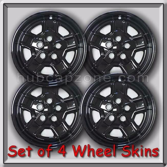 "2016 Jeep Patriot Accessories >> 4 Black 16"" Wheel Skins Hubcaps 2007-2008 Jeep Patriot Black Wheel Covers 