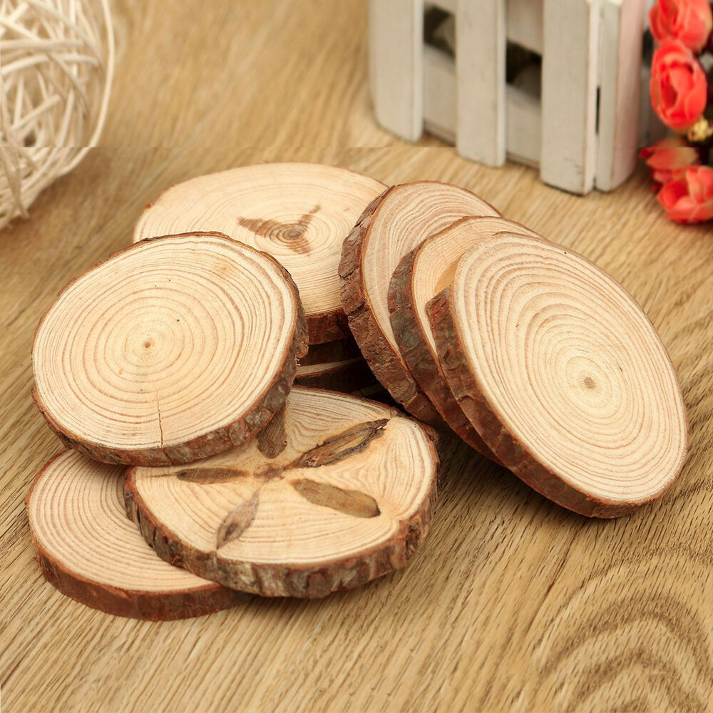 10pcs Natural Tree Round Wood Log Slice For Wedding
