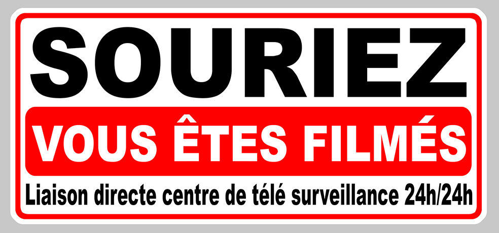 video surveillance souriez vous etes filmes 12cm autocollant sticker sa134 ebay. Black Bedroom Furniture Sets. Home Design Ideas