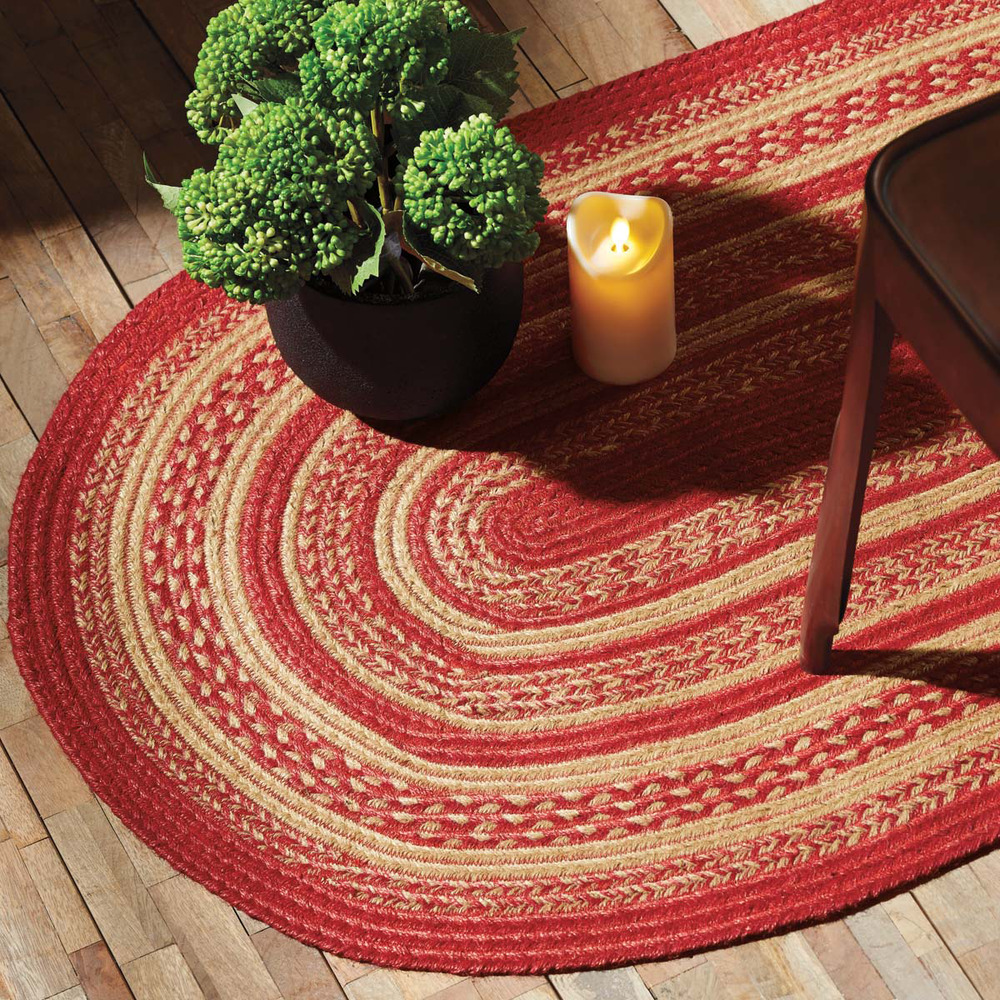 New Rustic Country Cabin True Red Amp Tan Braided Jute Rug