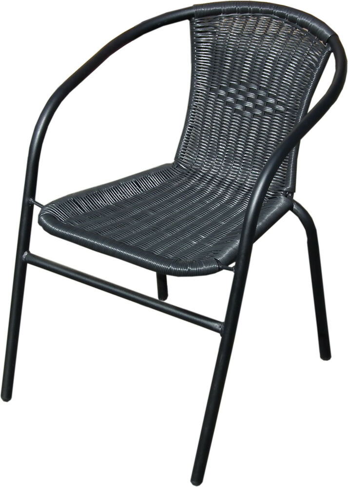 Garden Outdoor Patio Chairs Black Metal Frame With Wicker Rattan Woven Seat Ebay