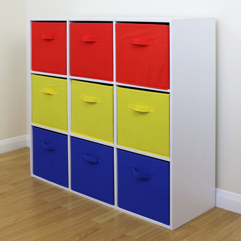 9 cube kids red yellow blue toy games storage unit girls. Black Bedroom Furniture Sets. Home Design Ideas