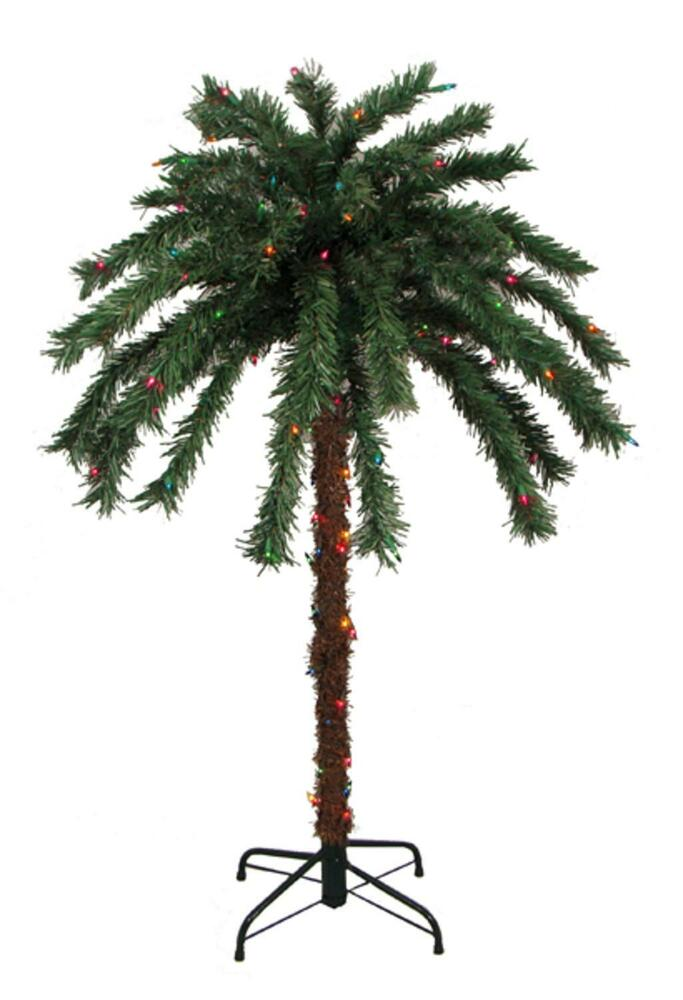 Solar String Lights For Palm Trees : 4 Pre-Lit Tropical Outdoor Summer Patio Palm Tree - Multi-Color Lights eBay
