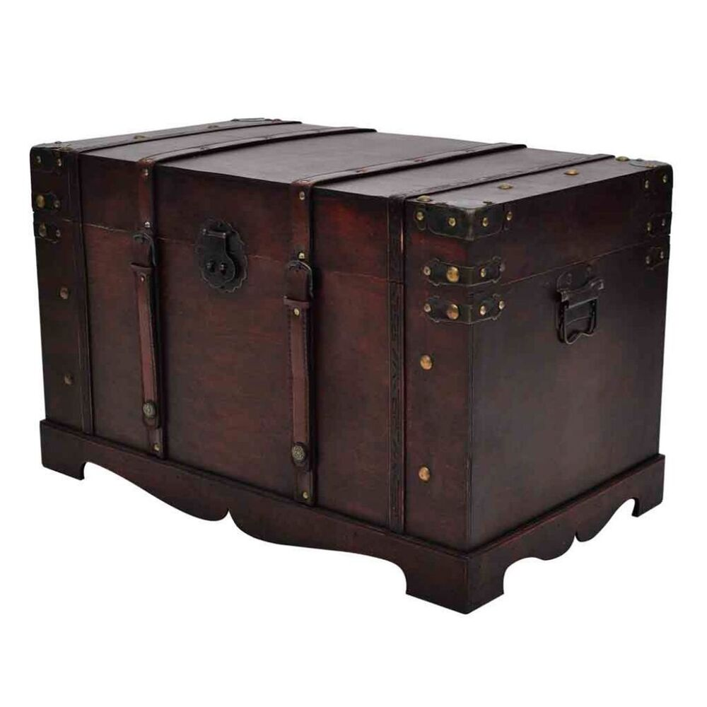 Vintage Coffee Table With Storage Trunk Chest Box Living