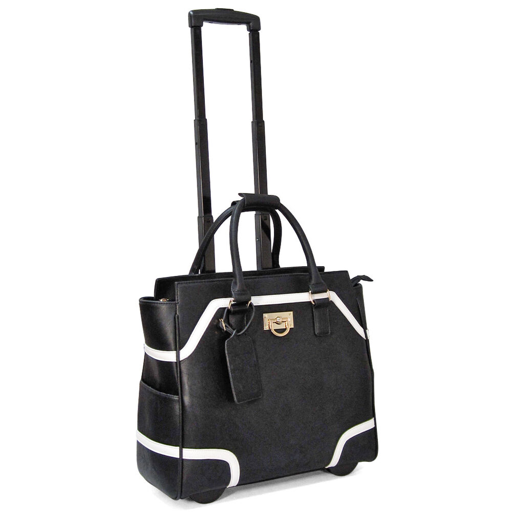 cabrelli rolling carry on color block laptop bag womens wheeled briefcase 713930 ebay. Black Bedroom Furniture Sets. Home Design Ideas