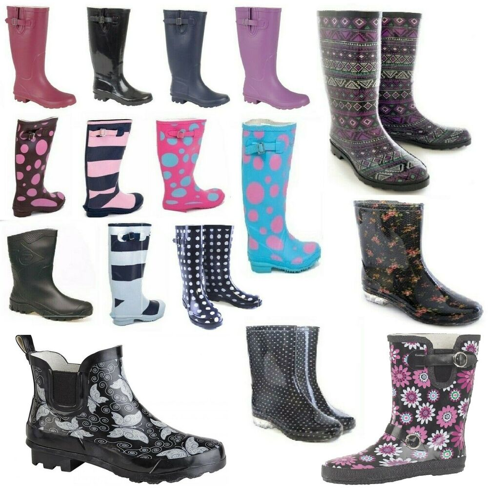 Ladies Womens Wellies Wellington Boots Summer Festival