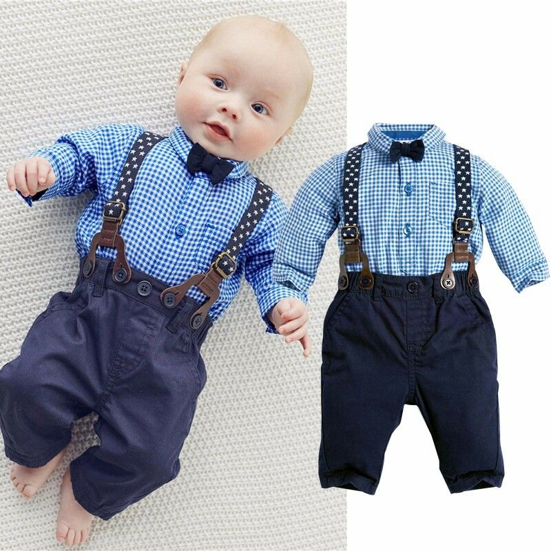 Gentleman Infant Baby Boy Suspenders Outfit Set Dress