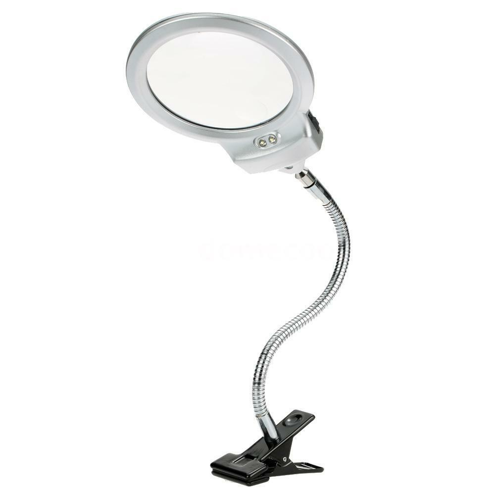 5x 2 5x Desk Led Clamp Magnifying Magnifier Glass Metal