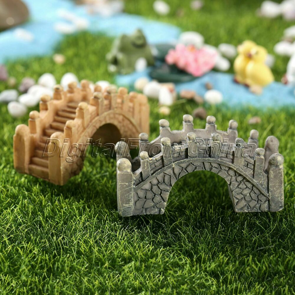 Resin micro landscape small bridge garden ornament for Garden ornaments and accessories