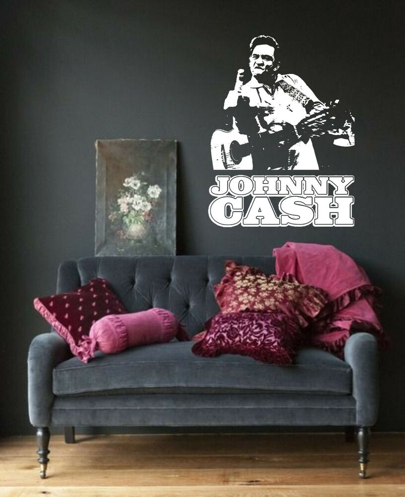 Johnny cash wall art sticker country music decal vinyl for Country wall mural