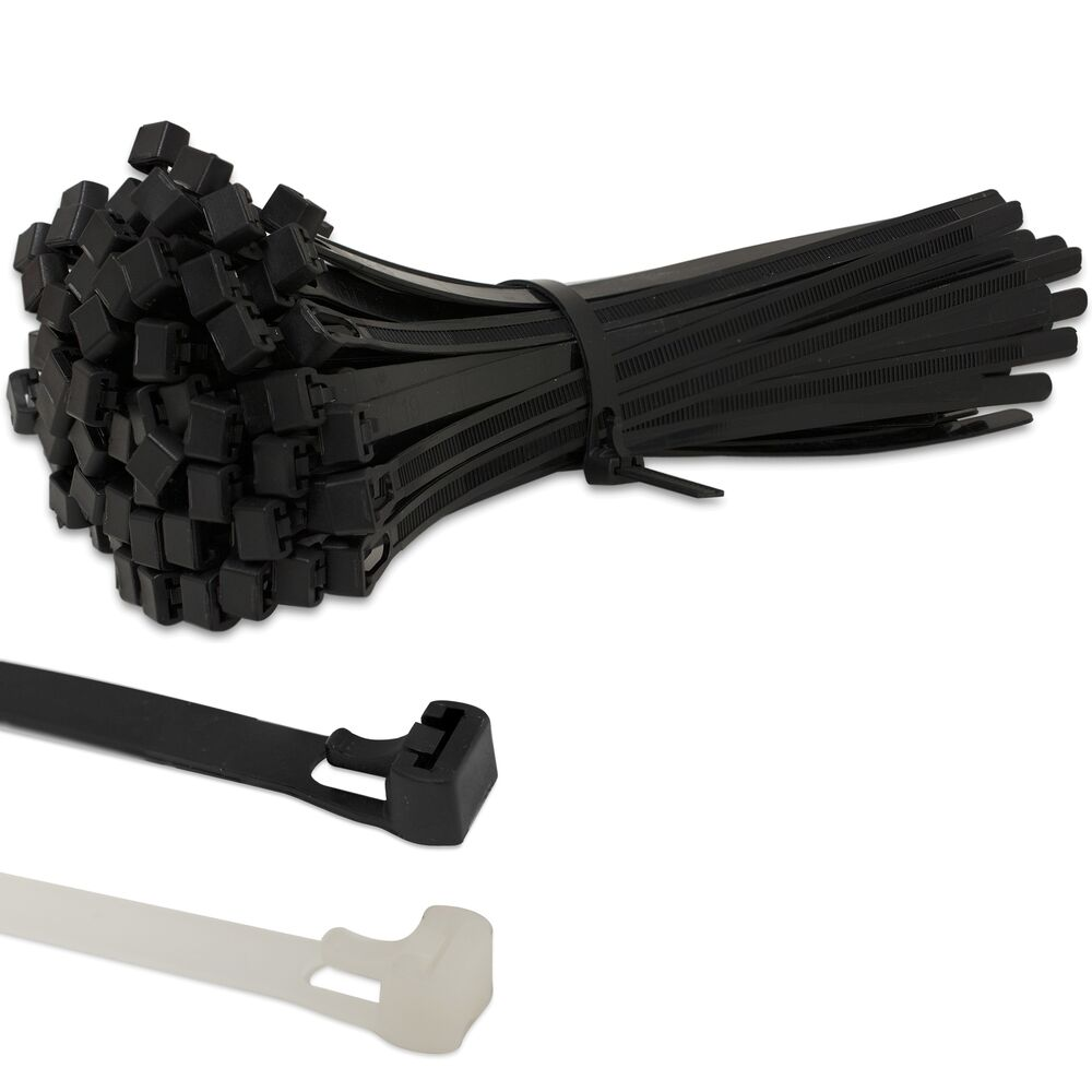 Cable Tie Wraps : Strong releasable black natural reusable cable ties