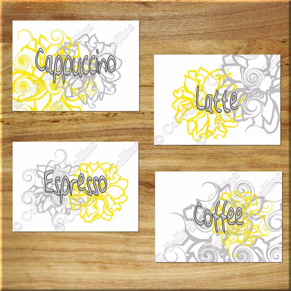 Yellow gray wall words art kitchen cafe flower floral for Word wall art