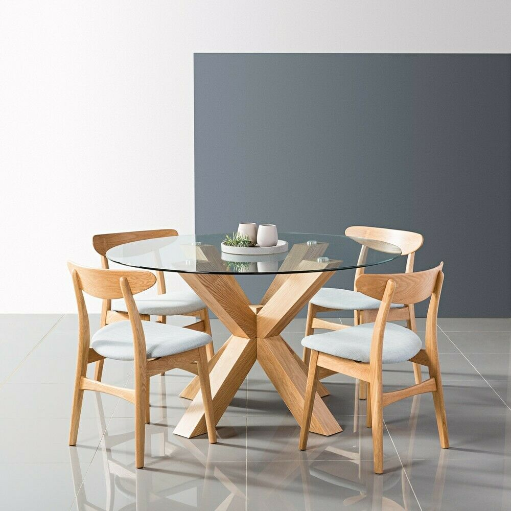Round Glass Kitchen Tables: Glass + Solid Oak Timber