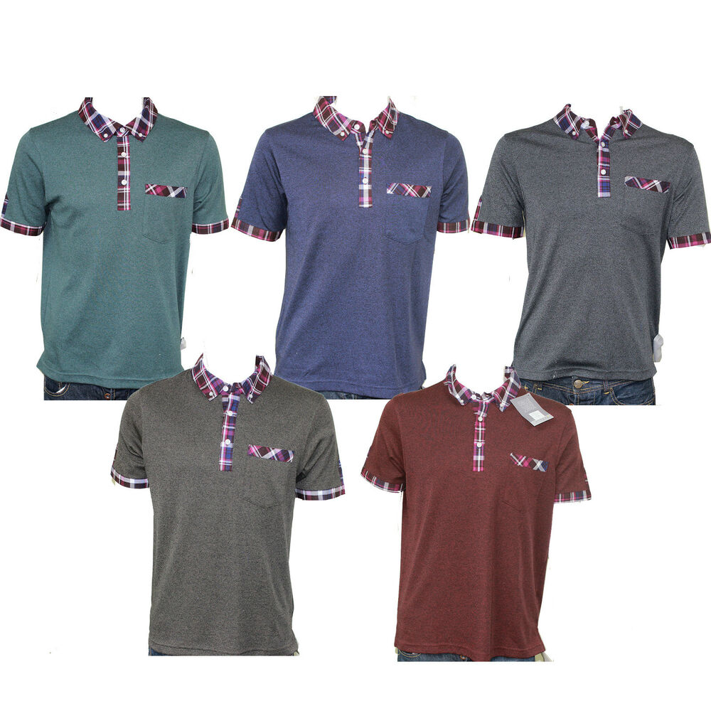 Mens short sleeve polo t shirts pockets casual smart green for Polo t shirts with pockets