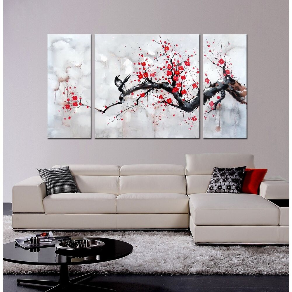 japanese inspired wall art red plum blossom hand painted canvas 3 panel framed ebay. Black Bedroom Furniture Sets. Home Design Ideas