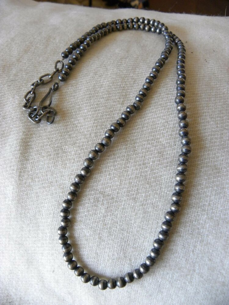 antiqued sterling silver navajo pearls necklace 4mm for