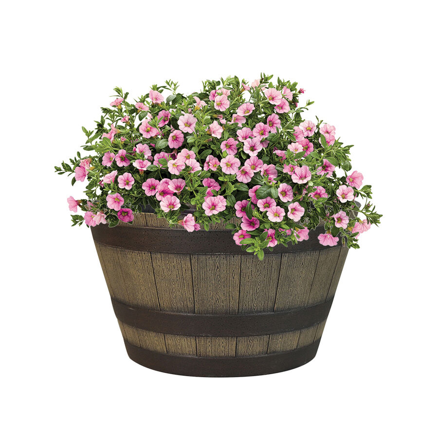 Garden Treasure Round Brown Plastic Barrel Outdoor Pot