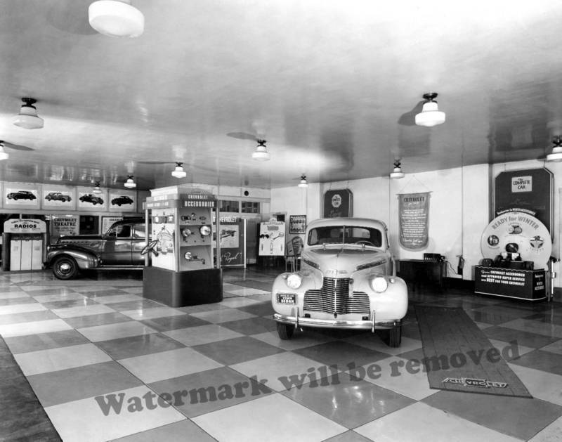 Photograph Vintage Chevy / Chevrolet Dealership Showroom 1940 11x14 ...