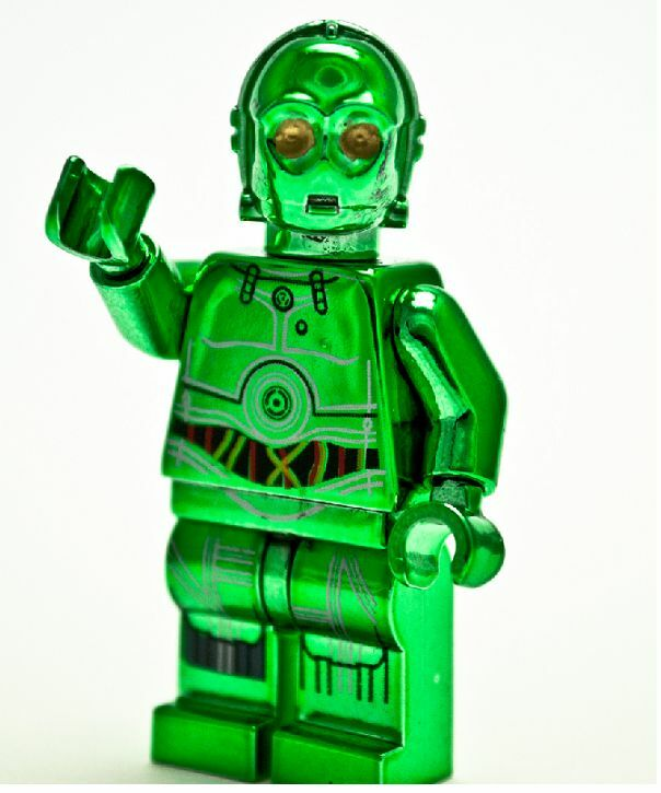 Custom lego star wars minifigure chrome green c 3po c3po - Lego star wars vaisseau droide ...