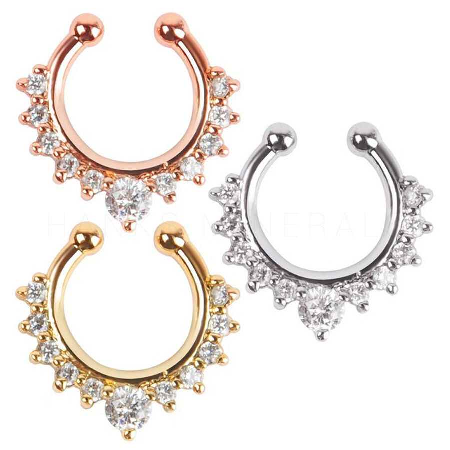 piercing jewelry septum clip on nose ring clicker non piercing 8461