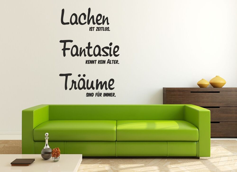 wandtattoo aufkleber wohnzimmer spr che zitate lachen fantasie tr ume ebay. Black Bedroom Furniture Sets. Home Design Ideas