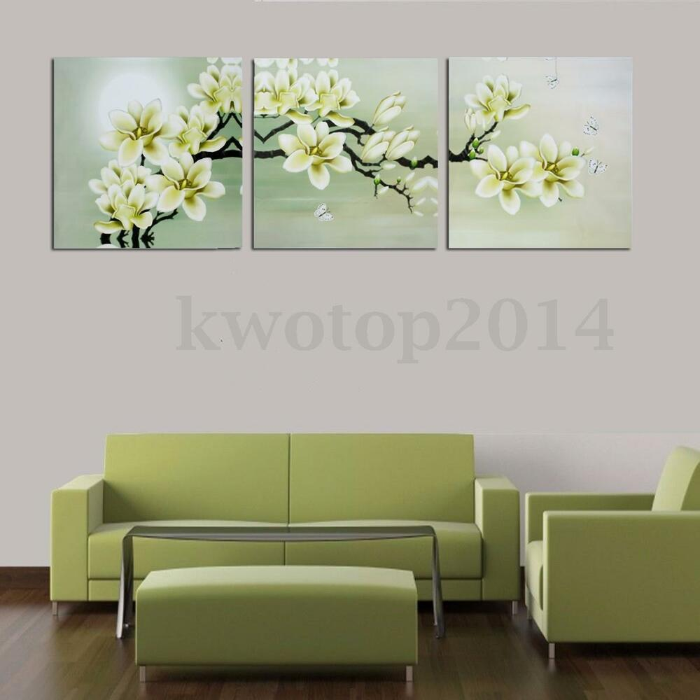 3pcs magnolia spray oil paint flower painting triptych for Home decorations on ebay