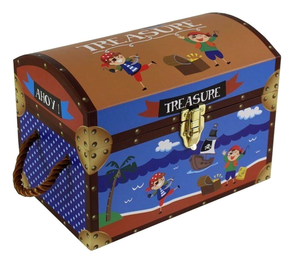 Kids Collapsible Ottoman Toy Books Box Storage Seat Chest: Kids Children's Pirate Toy Storage Box Treasure Chest