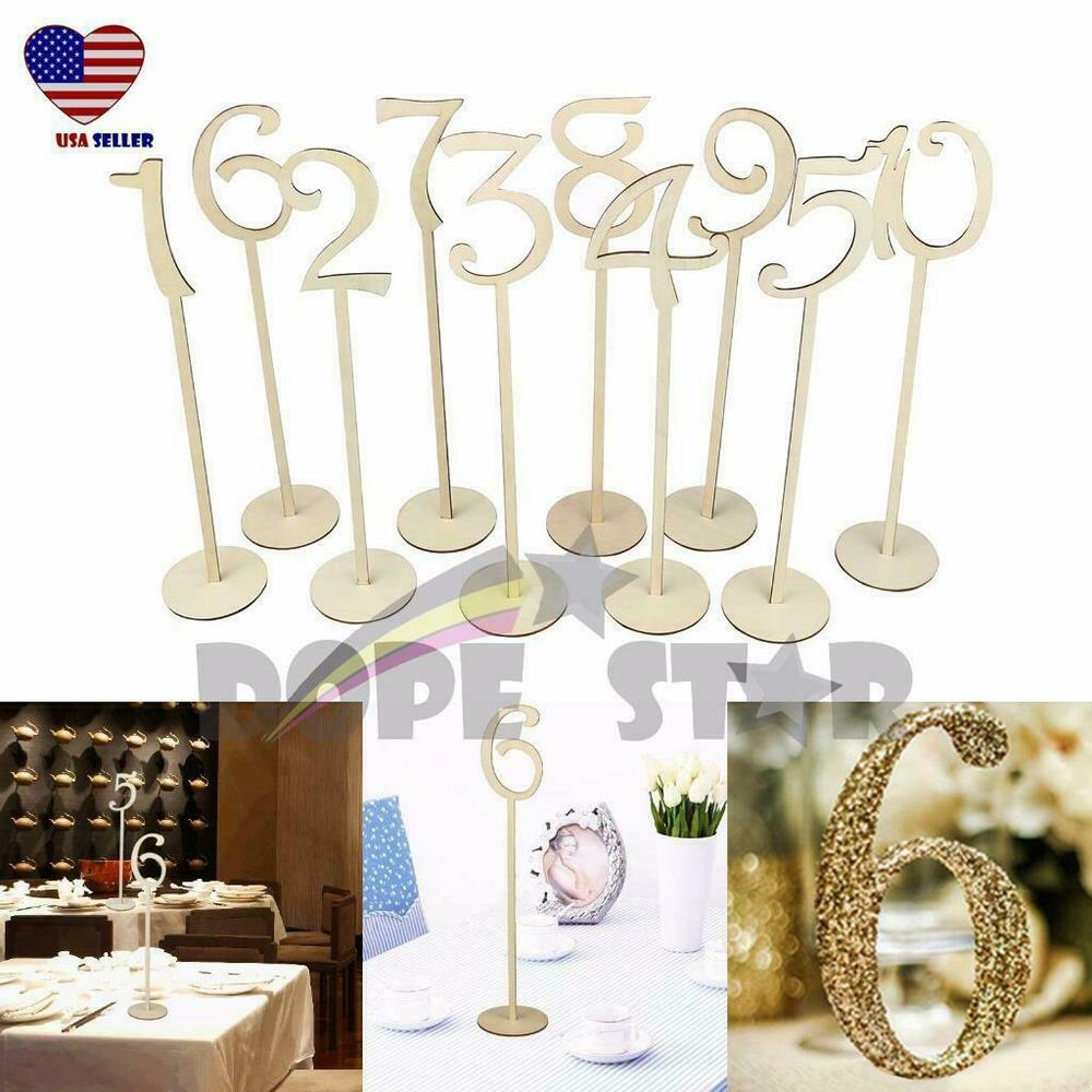 14 tall table number wooden stick 1 10 set w base for for Table numbers