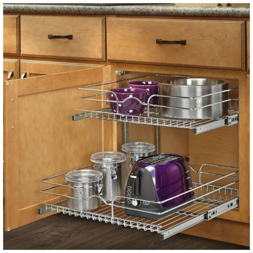 Pull Out Sliding Metal Kitchen Pot Cabinet Storage Organizer 2 Shelves Drawers 731234481524