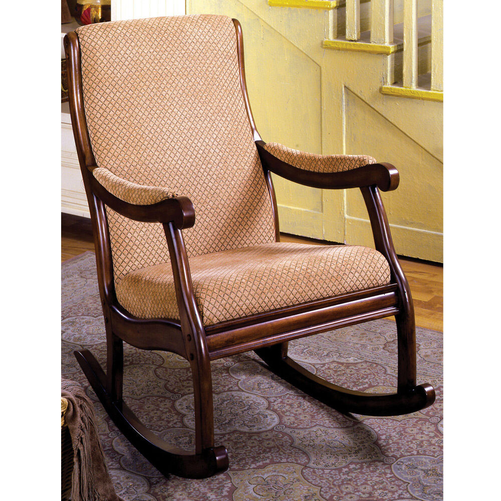 Liverpool Classic Rocker Rocking Chair Padded Fabric Seat Solid Wood ...