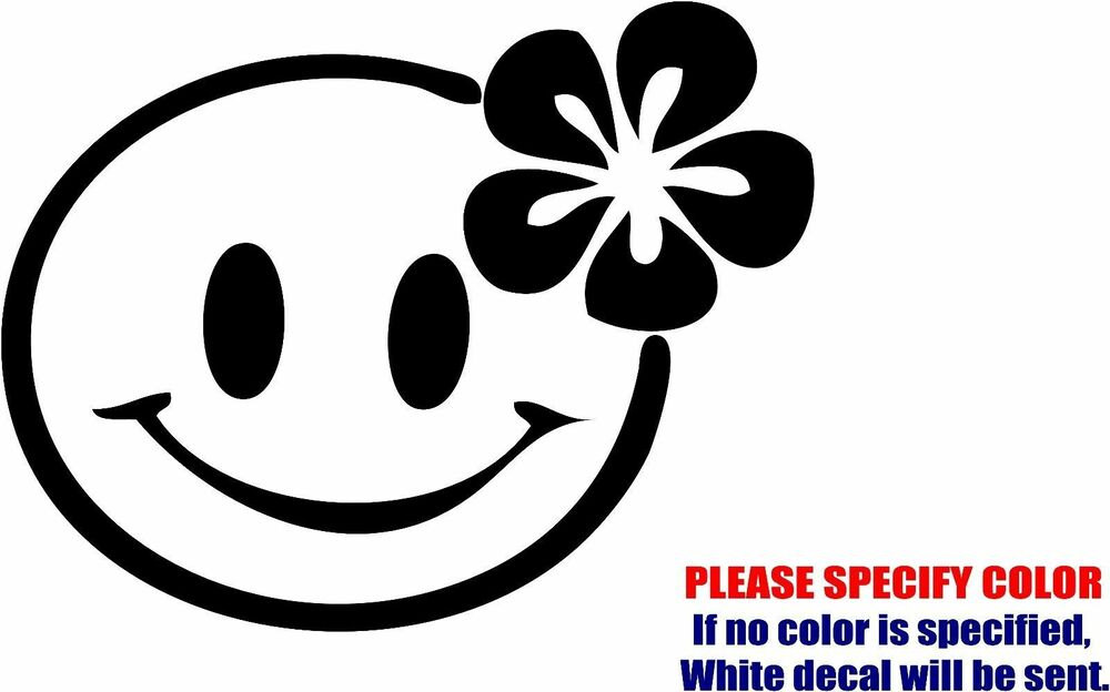Hippie Smiley Face Chick Adhesive Vinyl Decal Sticker Car