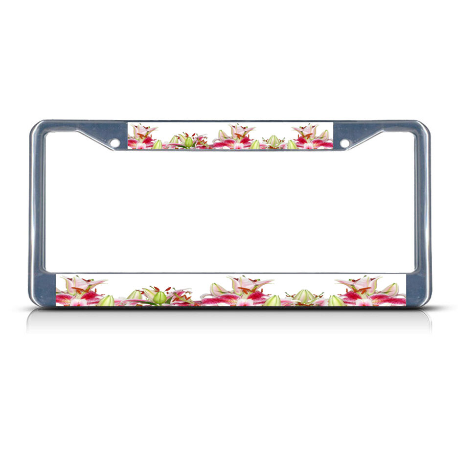 Stargazer Lily Flowers Metal License Plate Frame Tag