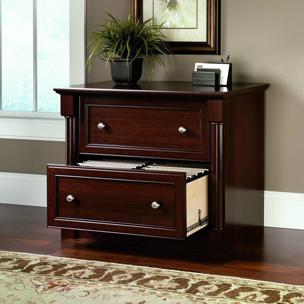 Lateral File Cabinet 2 Drawer Cherry Wood Document Storage