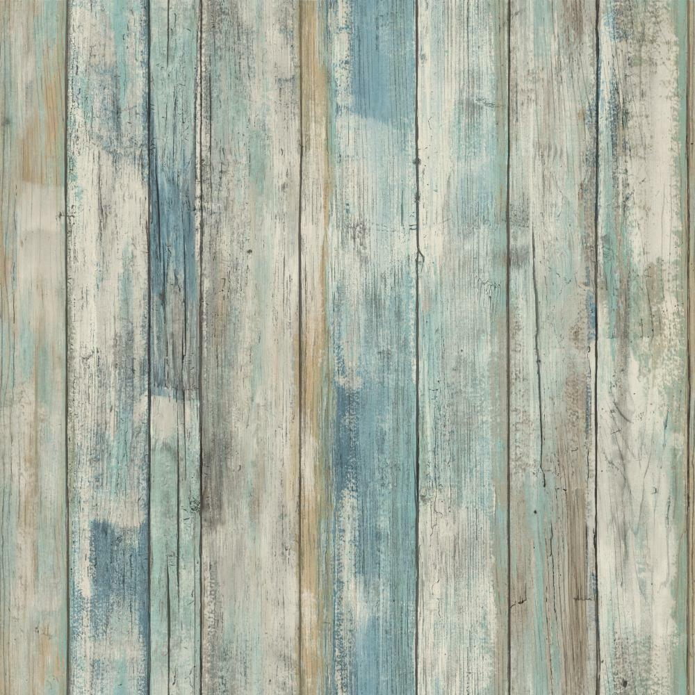 Rmk9052wp blue distressed wood peel and stick wallpaper ebay for Removable wallpaper wood paneling