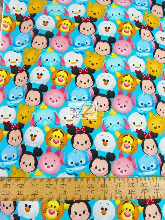 Tsum tsum mickey friends emoji by springs creative cotton fabric fh 2631 bty ebay for Emoji material by the yard