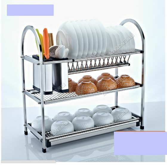kitchen plate organizer 3 tier layers stainless steel dish plate rack kitchen 2444