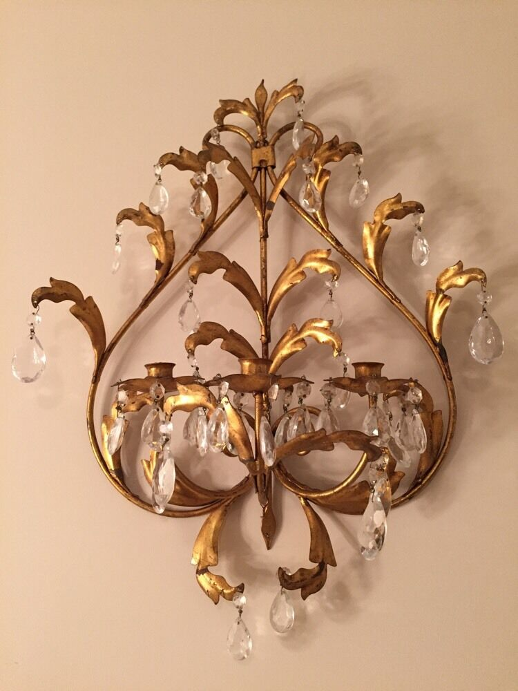 Vintage antique ITALIAN TOLE gold gilt wall sconce CandleHolder Italy Chandelier eBay