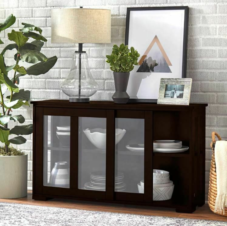 Furniture Kitchen Cabinets: Glass Front Cabinet China Hutch Display Storage Shelves