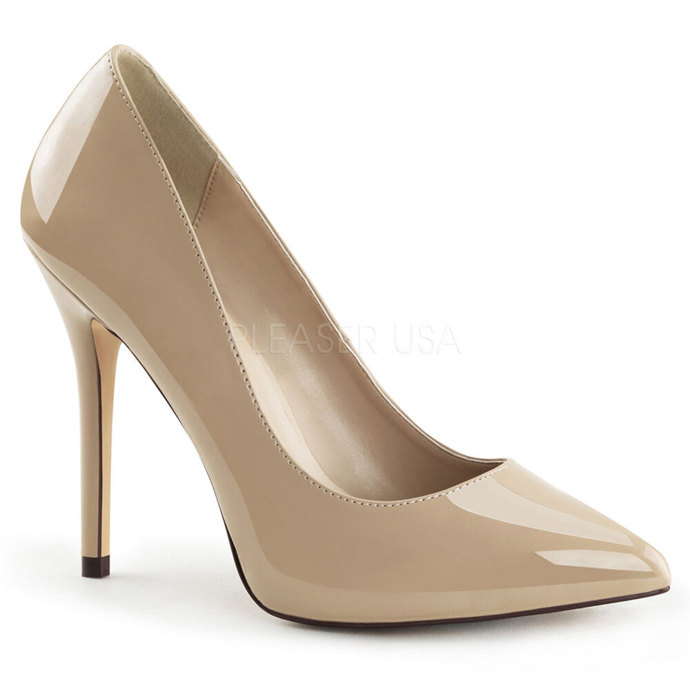 Nude Cream Patent Pumps Mens Crossdresser High Heels Drag Queen ...
