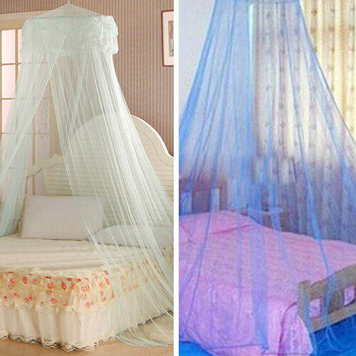 House bedding decor round bed canopy dome mosquito net for Bed with mosquito net decoration